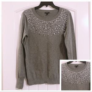 Express Grey Sweater with Embellishments Size L